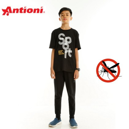 Antioni Children Anti-Mosquito Round Neck Tee, Short Sleeve (Black)