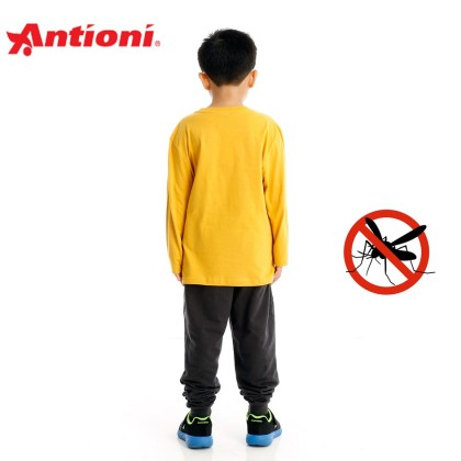 Antioni Children Anti-Mosquito Round Neck Tee, Long Sleeve (Yellow)