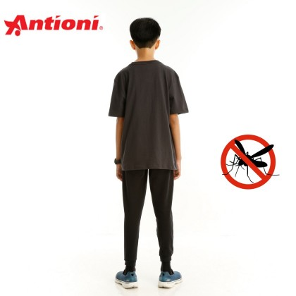 Antioni Children Anti-Mosquito Round Neck Tee, Short Sleeve (Grey)