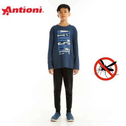 Antioni Children Anti-Mosquito Round Neck Tee, Short Sleeve (Blue)