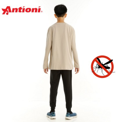 Antioni Children Anti-Mosquito Round Neck Tee, Long Sleeve (Khaki)