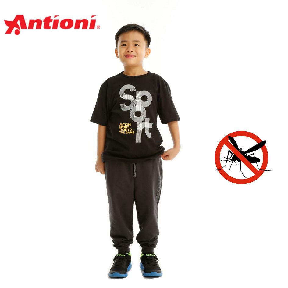 Antioni Children Anti-Mosquito Round Neck Tee, Short Sleeve (Black)