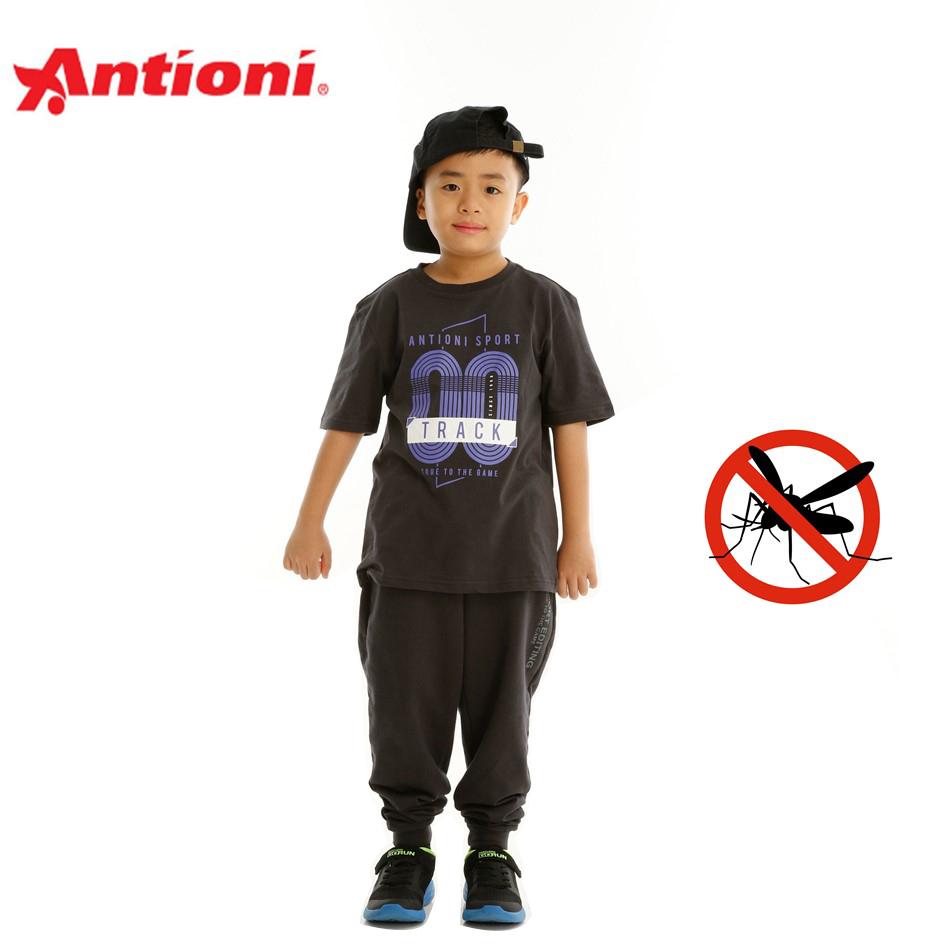 Antioni Children Anti-Mosquito Round Neck Tee, Short Sleeve (Grey)